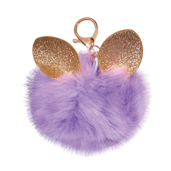 Picture of Glitter Ears Furry Pom-Pom Clip Purple