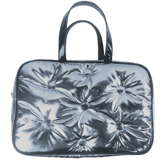 Picture of Chrome Tufted Metallic Large Cosmetic Bag