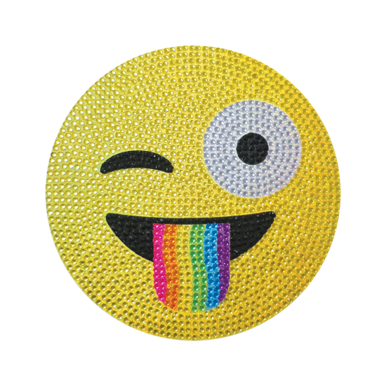 Picture of Crazy Face Emoji Rhinestone Decal Large