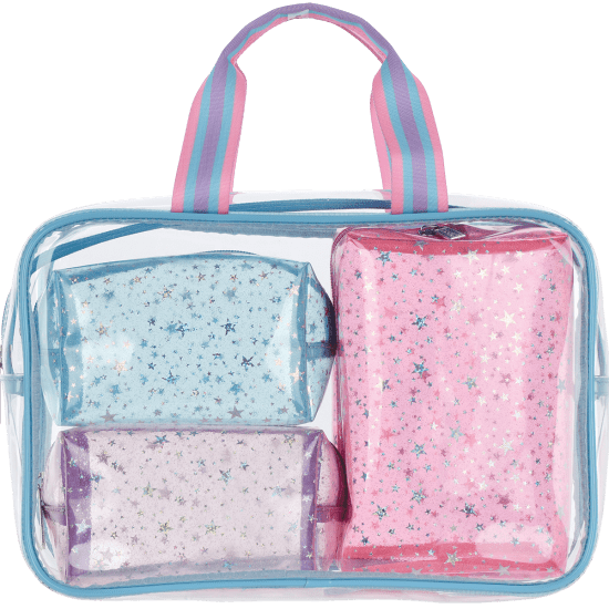 Picture of Color Block Clear Cosmetic Bag Set