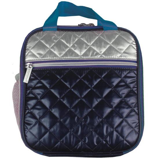 Picture of Silver and Blue Metallic Quilted Lunch Tote