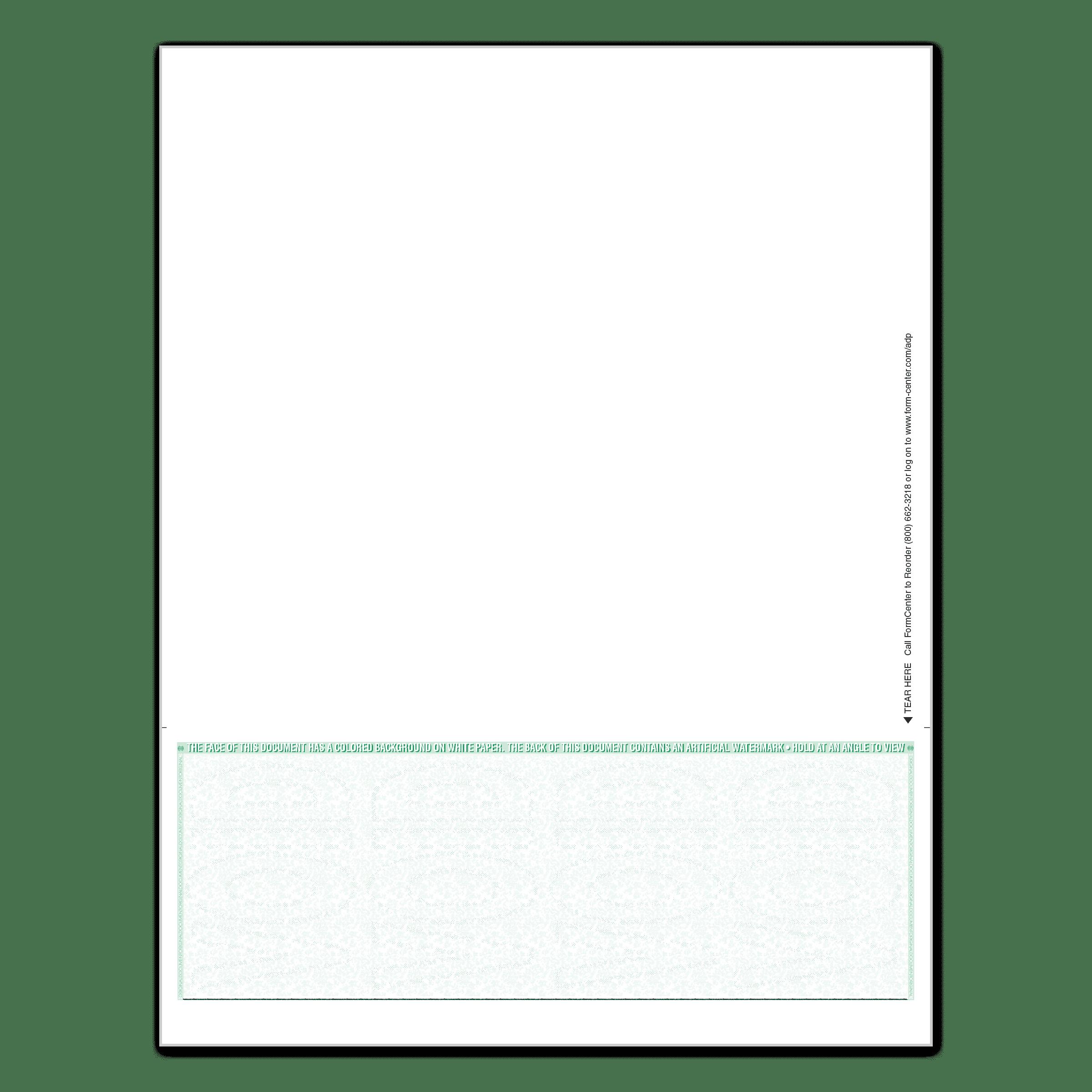 ADP RUN Blank MICR Checks