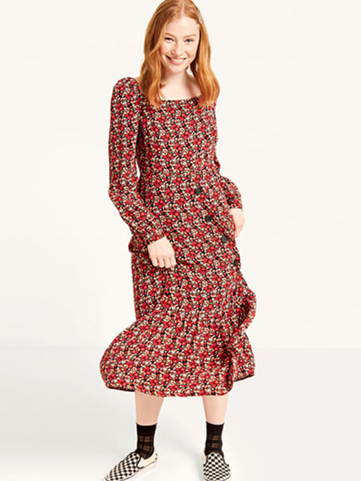 706e3d772b67 Skip to the end of the images gallery. Red Bella Floral Square Neck Button  Front Midi Dress