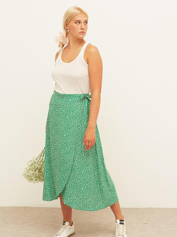 Lenzing EcoVero Green and White Ditsy Leona Wrap Midi Skirt