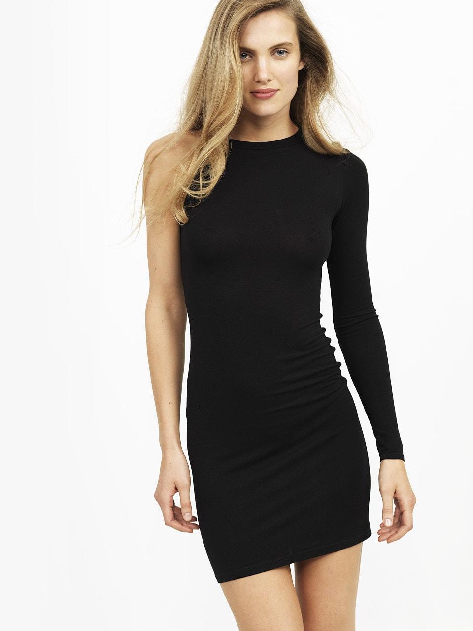 w BLACK  ASYMMETRICAL ONE SHOULDER MINI DRESS