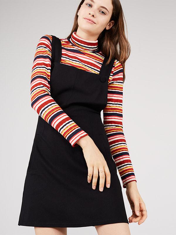 Black Pinifore Mini Dress