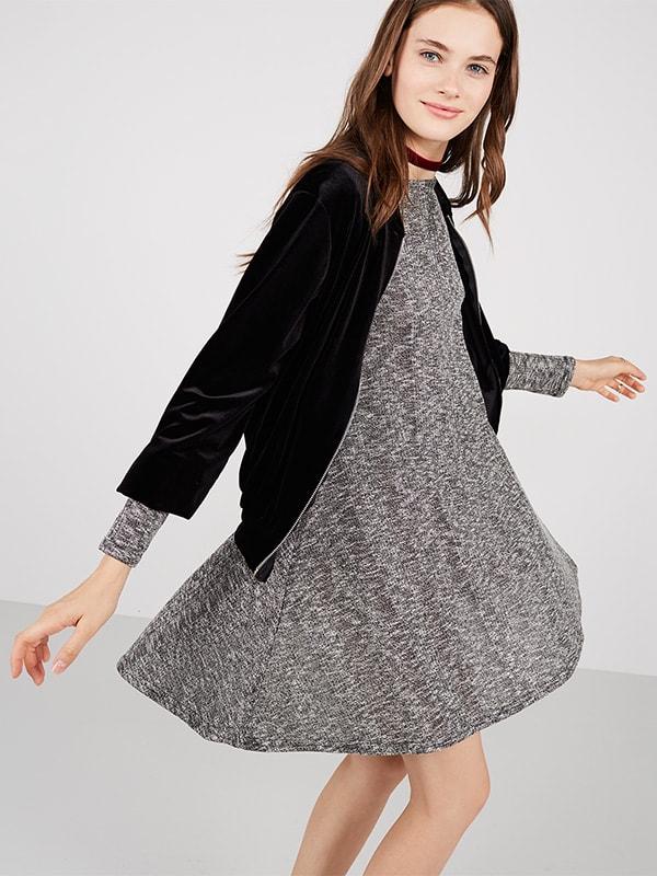 Grey Rib Long Sleeve Swing Dress