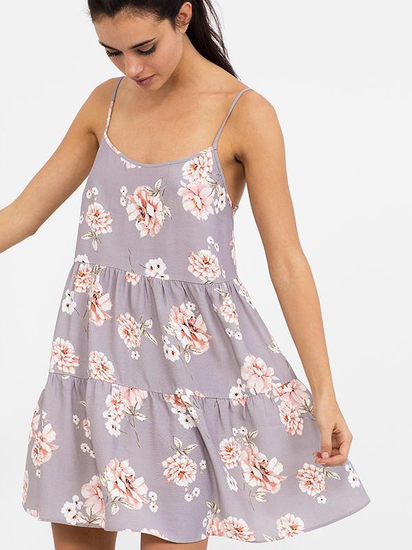 Grey Vintage Floral Lace Back Dress