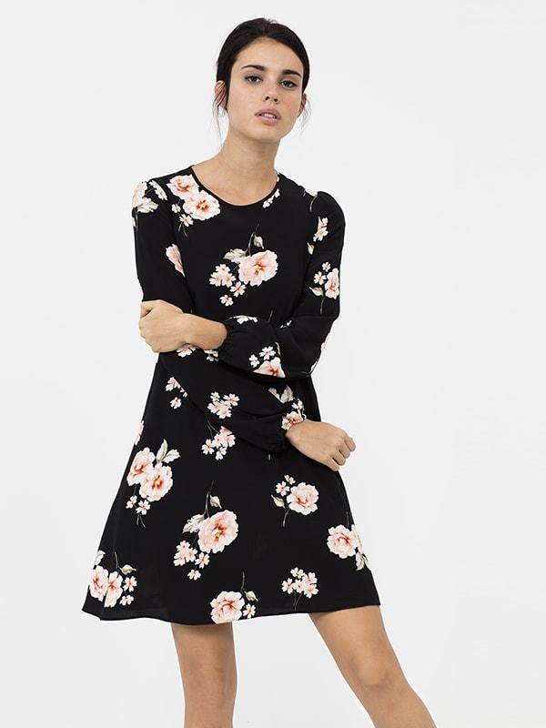 BLACK Floral 70'S Mini Dress