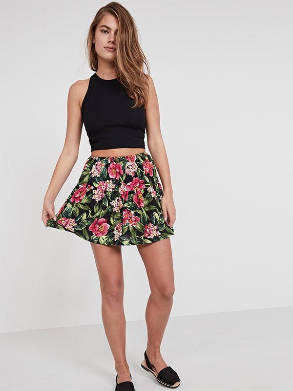 Black Hawaii Floral Flippy Skirt