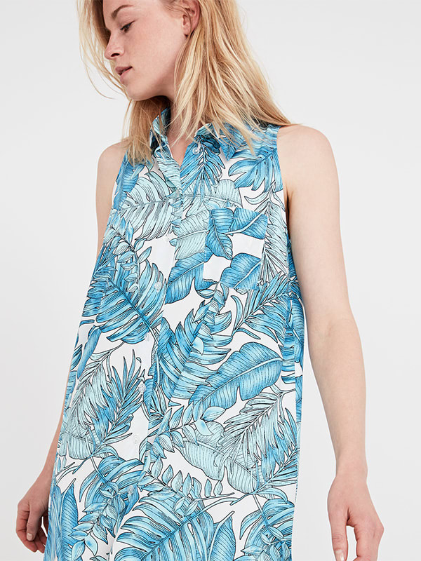 Blue Pattern Beach Fern Sleeveless Shirt Dress