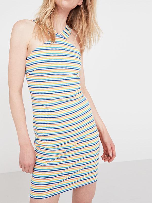 Yellow Cross Front Stripe Jacquard Dress