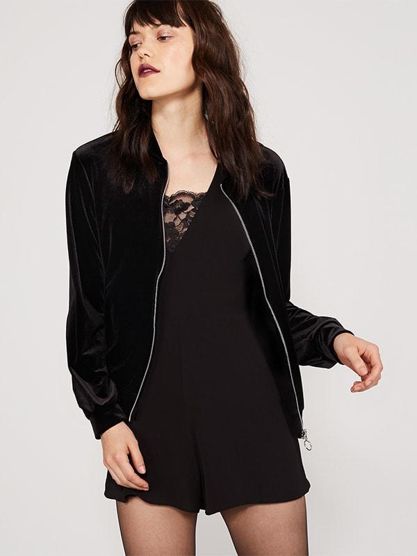 Black Velvet Bomber Jacket