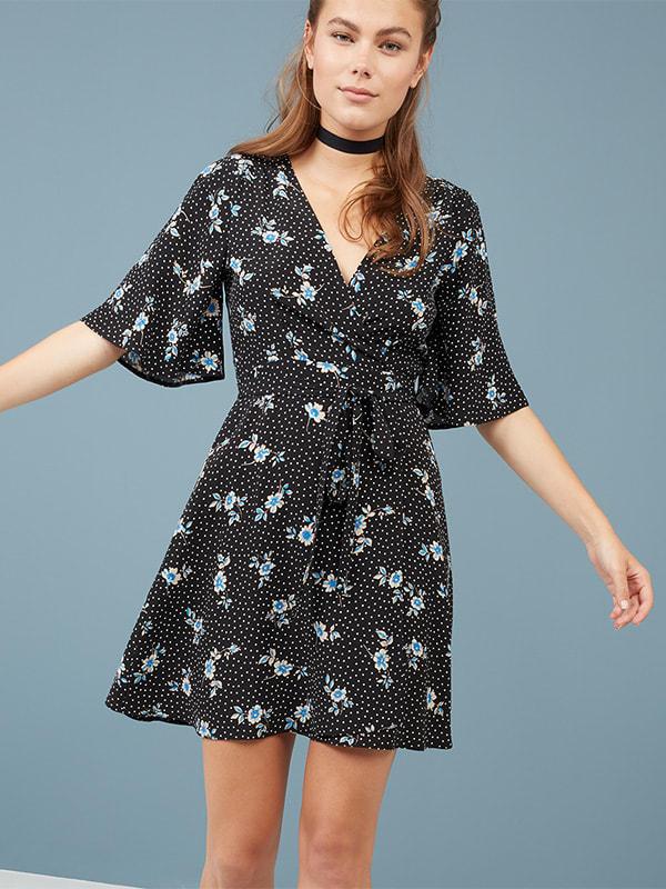 Black Flower spot wrap dress