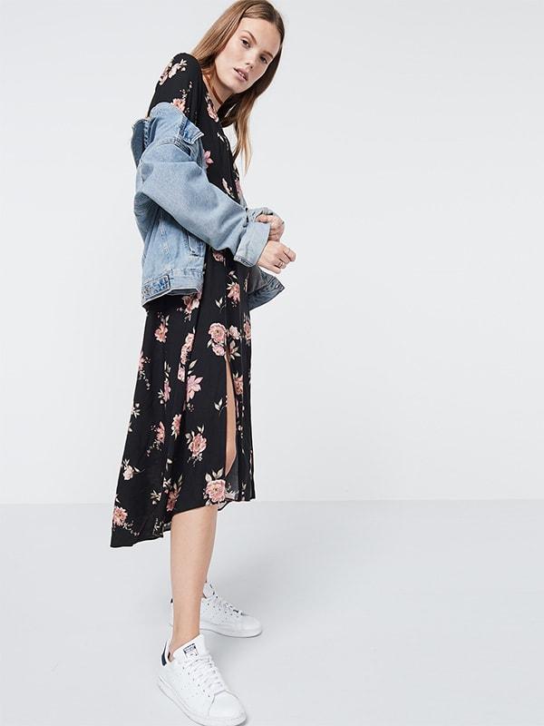Black Long slv floral midi dress