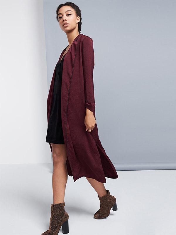 Longline Satin Duster Coat