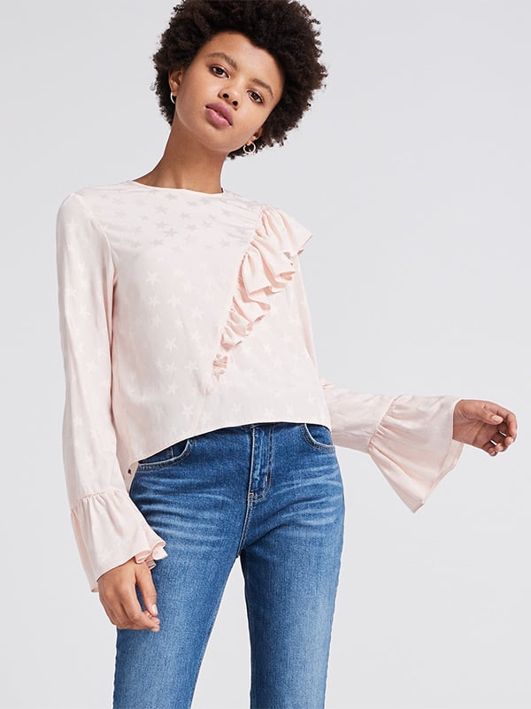 Pink Ruffle Front Top