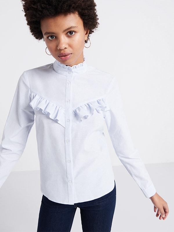 Stripe Frill Front Shirt