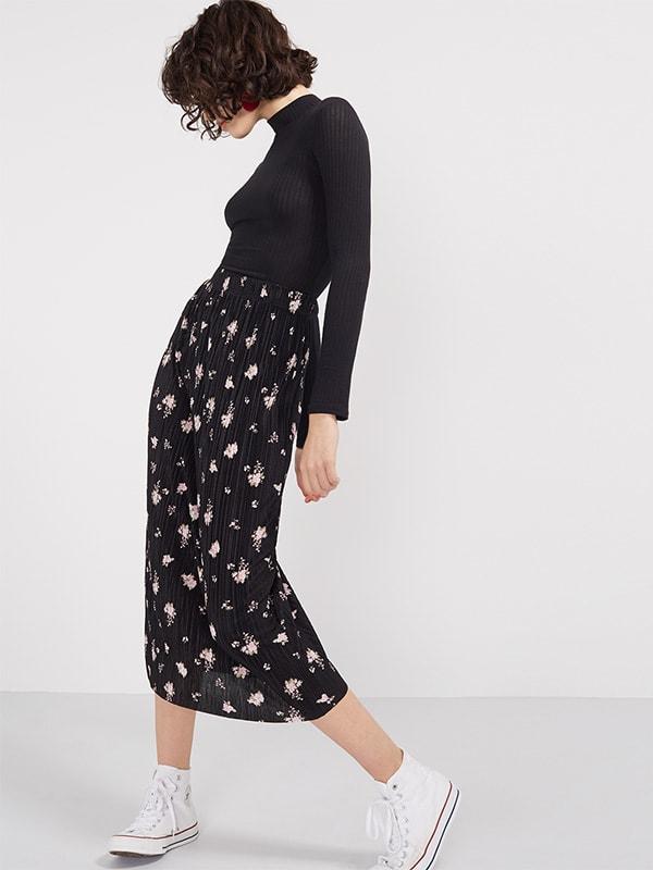 Black Ditsy Print Plisse Midi Skirt