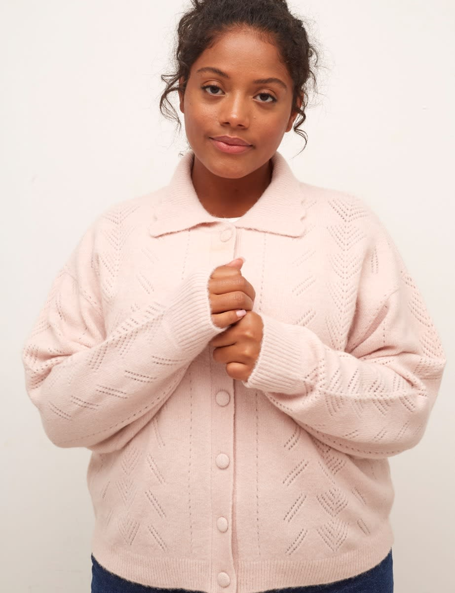 Curve Pink Pointelle Collared Cardigan