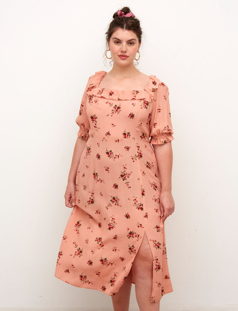 Curve Lenzing™ Ecovero™ Pink Floral Kiera Midi Dress