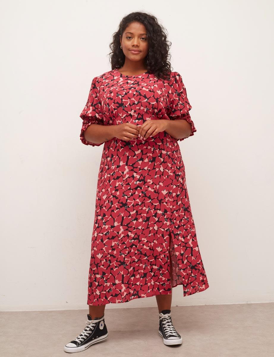 Curve Pink Heart Luna Midi Dress