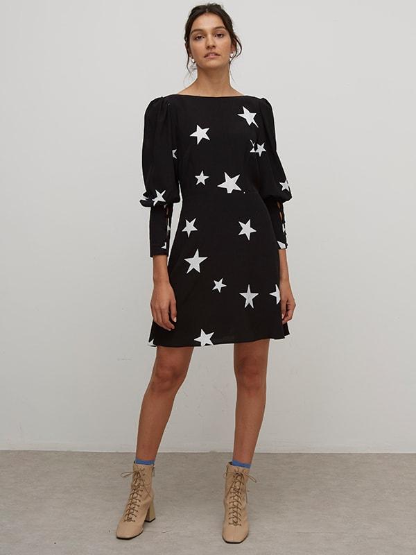 LIVAECO BY BIRLA CELLULOSE TM Black and White Star Amelia Mini Dress