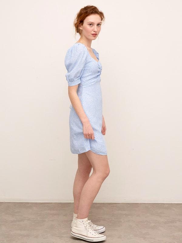 LENZING TM ECOVERO TM Blue and White Ditsy Penny Mini Dress
