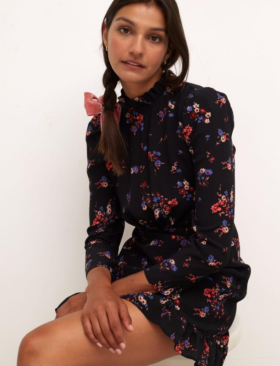 Black Floral Vanessa Mini Dress