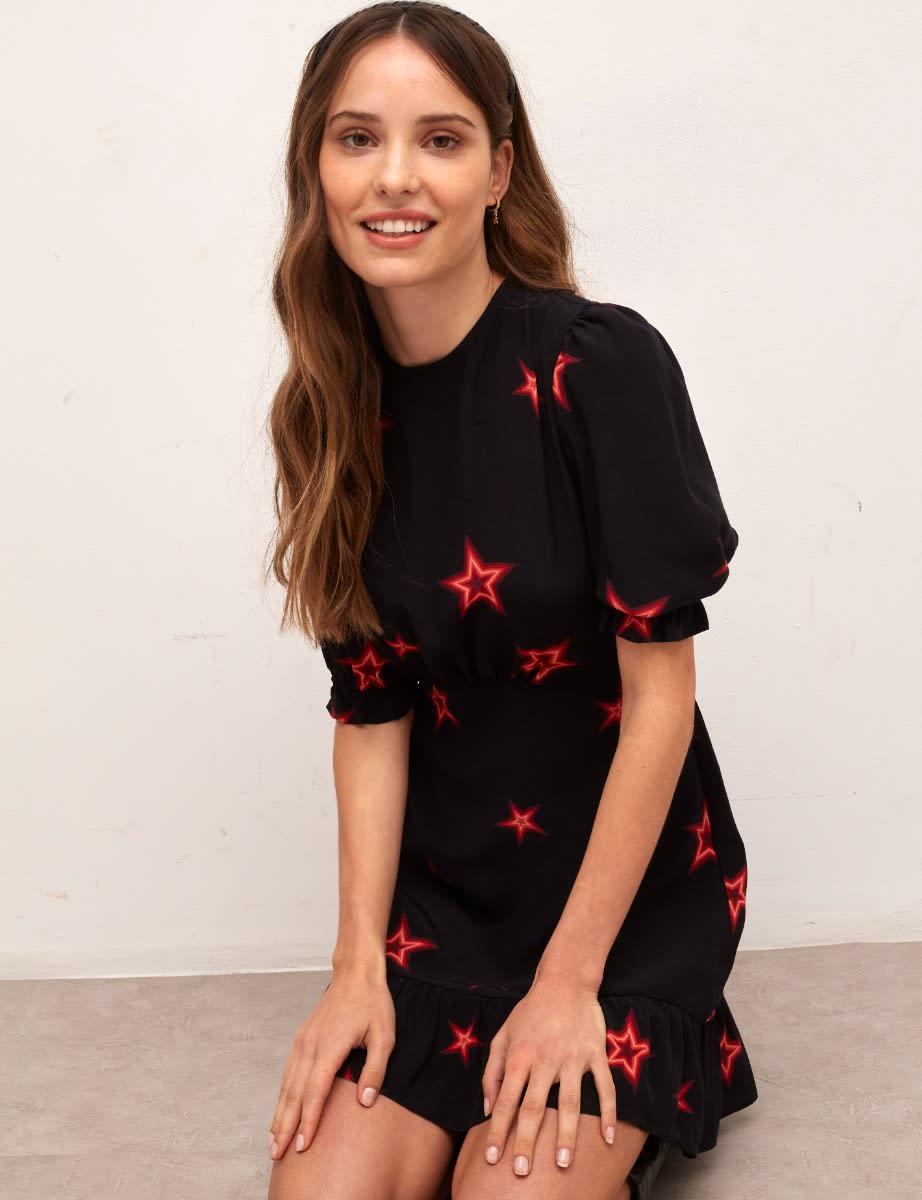 Lenzing Ecovero Black and Red Star Serena Mini Dress