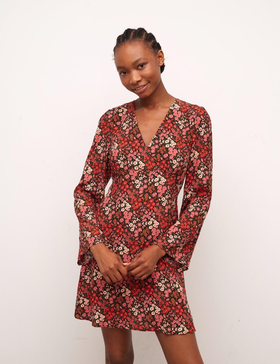 Lenzing™ Ecovero™ Burnt Orange Floral Fenne Mini Dress