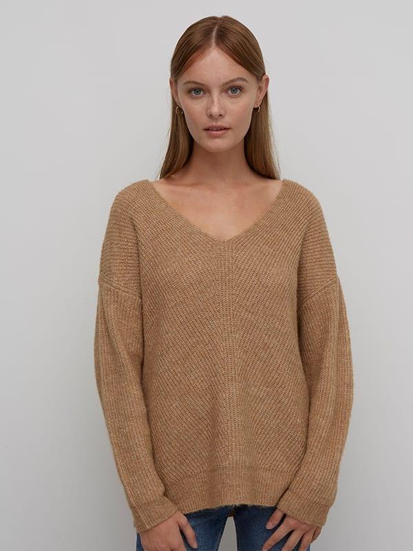 Camel Long V Neck Fisherman Sweater