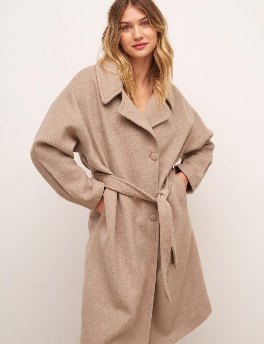 Oatmeal Hadrian Belted Long Wool Coat