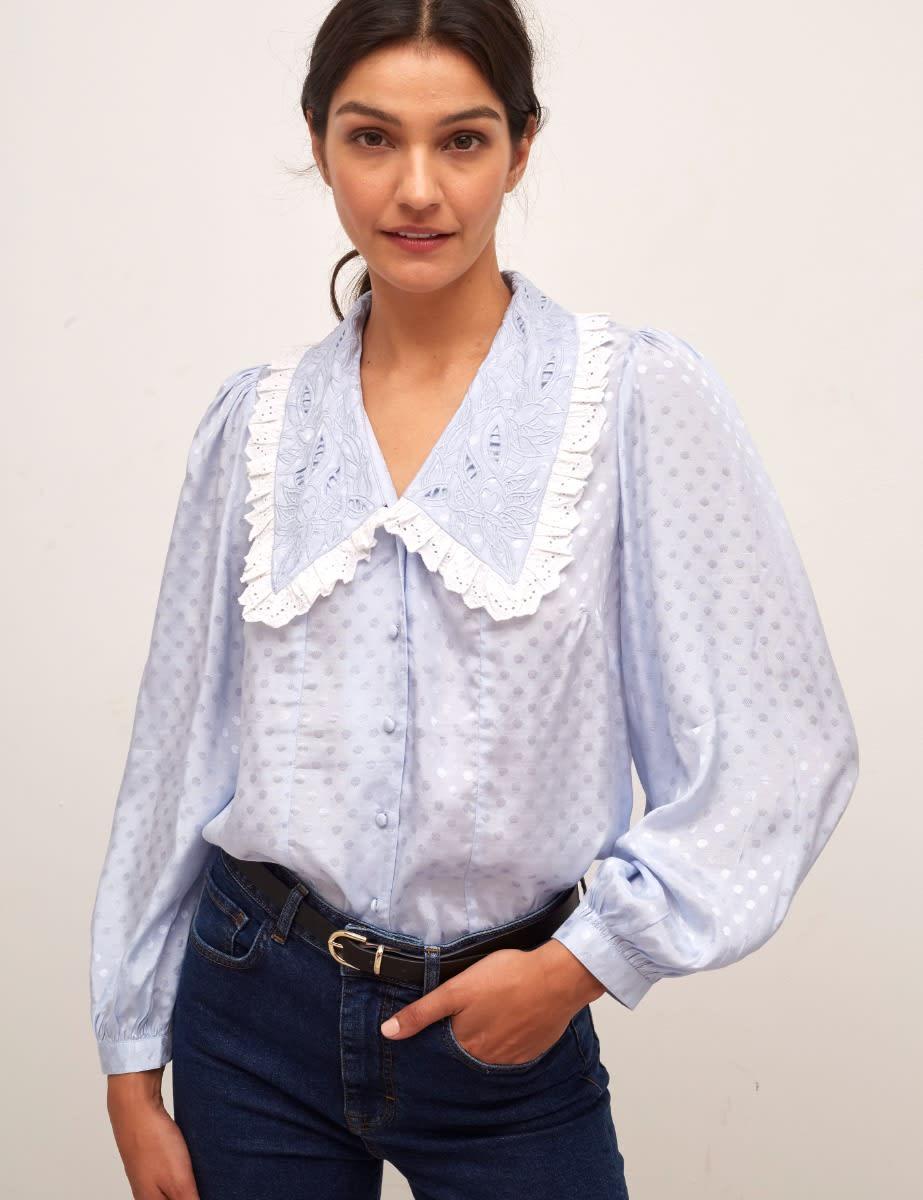 Blue Marcelle Collar Blouse