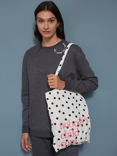 Cream and Black Spot Reusable Tote Bag