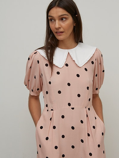 LENZING TM ECOVERO TM Pink Spot Collar Trudie Mini Dress
