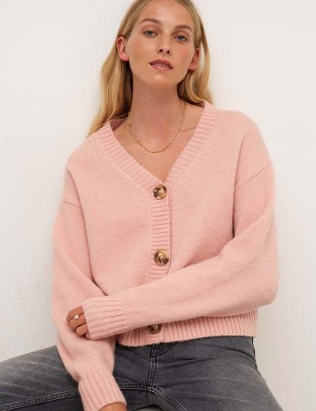 Pink V-Neck Single Jersey Cardigan
