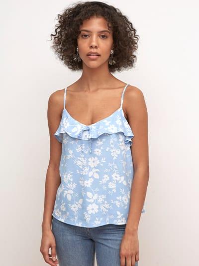 LENZING TM  ECOVERO TM  Blue and White Floral Carlotta Cami Top