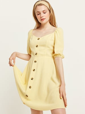 Yellow Rhona Linen Blend Mini Dress