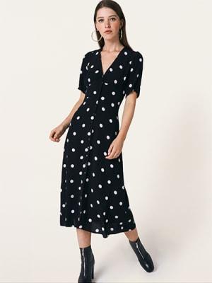 Black and White Spot Alexa Midi Dress