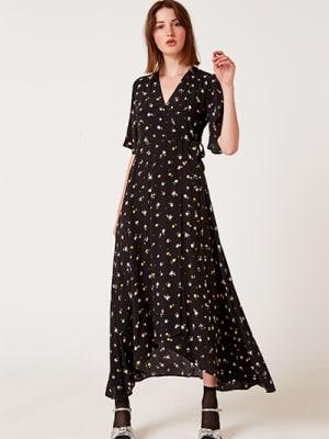 Black Floral Willow Wrap Midi Dress