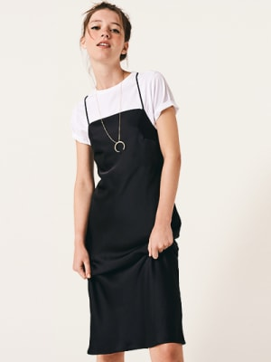 Black Electra Bias Satin Midi Dress