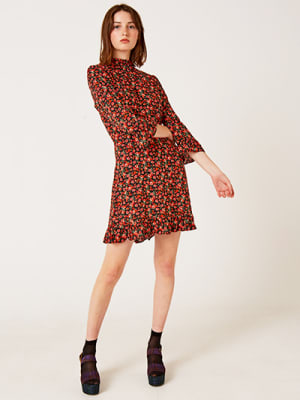 Black and Red Ditsy Vera Frill Mini Dress