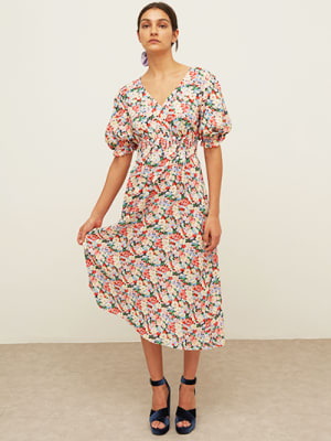 LENZING™ ECOVERO™ Pink and Cream Floral Evelyn Tie Back Midi Dress