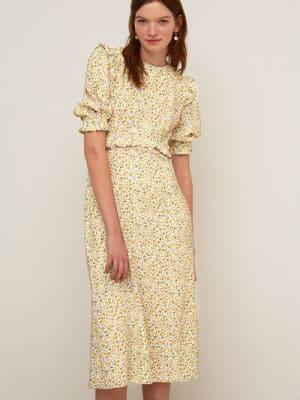 Yellow and Lilac Ditsy Felicia Frill Midi Dress