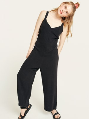 Black Tammica Linen Blend Jumpsuit