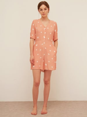 Lenzing EcoVero Coral and White Star Sharona Playsuit