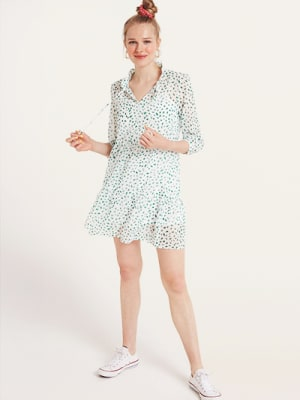 White and Green Spot Elena Smock Mini Dress
