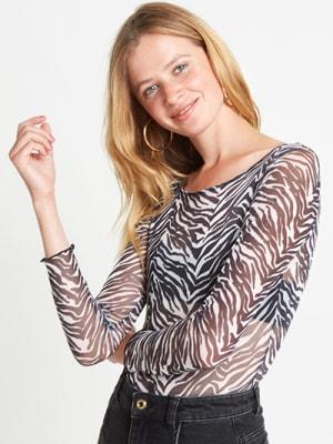 White Zebra Mesh Bodysuit