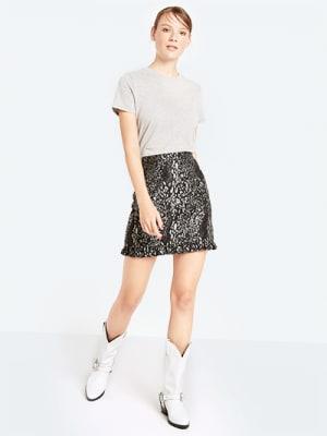 Black Jacquard Frill Hem Mini Skirt